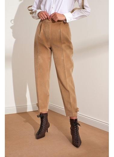 Setre Bej Yüksek Bel Kadife Pantolon Bej